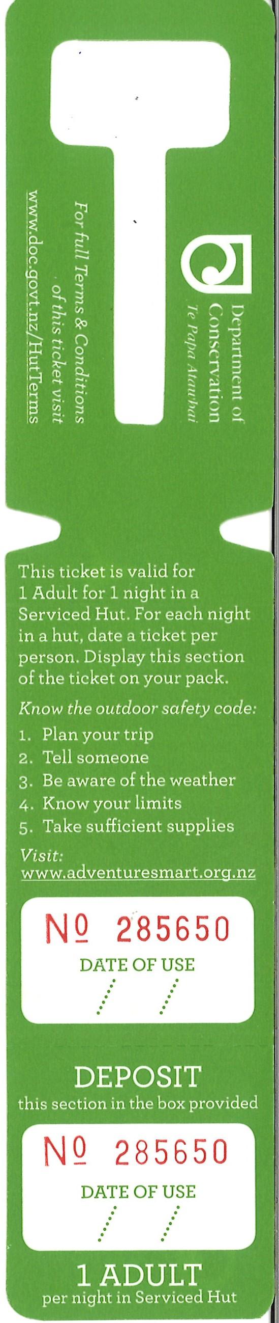 DoC Hut ticket - Serviced Adult
