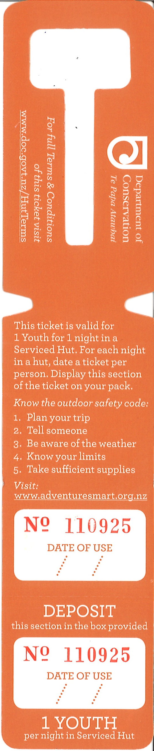DoC Hut ticket - Serviced Youth
