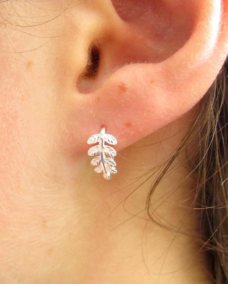 Wildside Earrings - Silver curled silver fern X11
